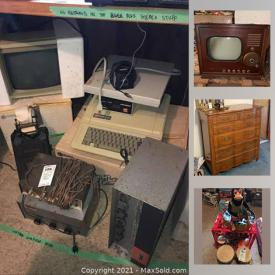 MaxSold Auction: This online auction features vintage Apple computer, vintage furniture, antique furniture, antique books, Star Wars Memorabilia, Barbies, Ninja Turtle, player piano, vintage sports Pennants, vintage diecast toys, vintage electronics, exercise equipment, camping equipment and much more.
