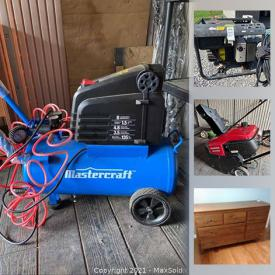 MaxSold Auction: This online auction features Queen Sleigh Bed, leather rocker, framed wall art, tea set, Motorcycle jackets, stereo components, commercial kitchen unit, power tools, camping gear, TV, generator, air compressor, snowblower and much more!