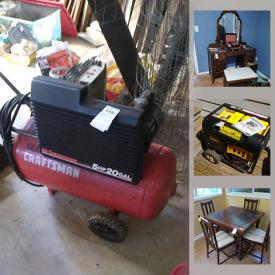 MaxSold Auction: This online auction features home furnishings such as occasional tables, cedar chest, vintage lamps, kitchen appliances and dinnerware, tables, dolls, figurines including animals and lighthouses, and home decor, small electronics and office supplies, jewelry, patio furniture, barbeques, and landscaping and home renovation tools and hardware including shop vac, generator and compressor and arc welder, power tools, and building material, wood stove, fishing and sports supplies, television and much more!
