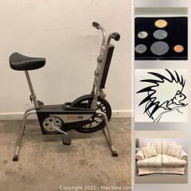 MaxSold Auction: This online auction features Durham furniture, Comics, Noritake, Legos, Royal Doulton, Wedgewood, Electronics, Sony Boomboxes, Silver Dollars, Exercise Equipment, Restoration Hardware Patio Seat Covers, DVD Players, Patio chairs and much more.