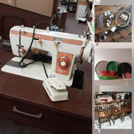 MaxSold Auction: This online auction features Decanter, Teacups, NIP Silicone Bakeware, Trunk, Sewing Machine, Collector Spoons, Jewelry, and Much, Much, More!!