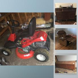 MaxSold Auction: This online auction features a riding lawnmower, teak dresser, electric mower, cabinets, building materials, garden decor, plants, cleaning supplies, glassware, kitchenware, kitchen table and chairs, small kitchen appliances, Rocket vacuum, Dyson fan and much more!