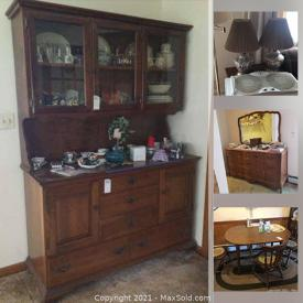 MaxSold Auction: This online auction features Vintage Player Piano, Figurines, Area Rugs, Longaberger Baskets, Depression Glass, Collectible Teacups, Sewing Machine, Board Games, Vintage Organ, Jewelry, Washer & Dryer, Vintage Books, Vintage Rocking Horse, Hand & Power Tools, and much more.