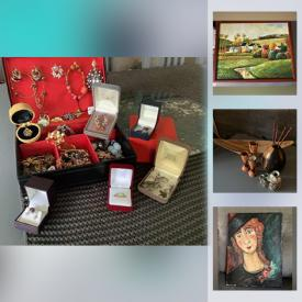 MaxSold Auction: This online auction features Watches, Costume Jewelry, Oil On Canvas, Art Glass, Silver Turquoise Jewelry, Vintage Decorative Plate, Wood Carved Duck, New Handbags, Women's Clothing & Shoes, Art Pottery and much more!