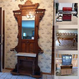 MaxSold Auction: This online auction features vintage dining furniture, China including Royal Doulton and Spode, Cloisonne lamp, Singer sewing machine, Victorian Etagere, Hummel figures, nostalgic MCM barware, decor and furniture, Jewelry including Sterling and Gold, Pet supplies, Waterford Crystal lamp. Home, Lawn and yard care supplies, Wagon wheel table, TVs, Leather furniture, Patio furniture, BBQ grill, Fire safe and much more!