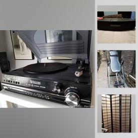 MaxSold Auction: This online auction features electronics, inversion table, collectible toys, flat-screen TVs, surround sound, subwoofer, amplifier and much more.