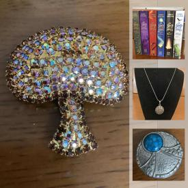 MaxSold Auction: This online auction features sterling silver jewelry, Mother of Pearl, children's books, artwork, silk dresses, Denim jackets, Precious Stone rings, Cloisonné, records, vintage and antique books, Turquoise rings and much more.