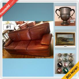 MaxSold Auction: This online auction features stained glass, Pockets watches, Mahogany furniture, English Pottery, Baccarat, Teakwood utensils and bowls, vintage kitchenwares and Food prep, Barware, beer steins, silverplated serving ware, Souvenir collector's spoons, Leather furniture, pewter, Signe artwork, rugs, antique furniture, hand tools and hardware, needlepoint art, metal detector, linens, German and Asian Porcelain, Cloisonné, Inuit Figural Carvings, Occupied Japan and much more!