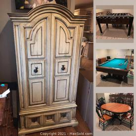 """MaxSold Auction: This online auction features collectibles such as Lego, Barbie, Mikasa, Lenox, and silver plate, billiard table, foosball table, furniture such as patio sets, Broyhill wardrobe, wooden dining table, sleigh bed frames, and Bassett hutch, planters, holiday decor, wall art, home decor, cabinets, linens, electronics such as robot vacuum, wireless headphones, and 49"""" Samsung TV, lamps, bookshelves, children's toys, NFL attire, exercise equipment, sports equipment and much more!"""