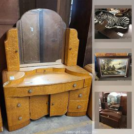 MaxSold Auction: This online auction features vintage and antique furniture, kid's toys, antique lamps, Fine china, statues, sculptures, vanities, stoneware, pottery, doors and more.