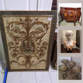 MaxSold Auction: This online auction features framed paintings, lamps, rattan patio tables, 2 drawer stands, plants, floral arrangements, framed mirrors, antique mirror, koi plate, decor, oversized paintings, oversized mirrors, John Richard ornate mirror, wood panel art set, gilded mirrors and much more!
