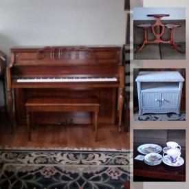 MaxSold Auction: This online auction features a piano, signed art, Oak furniture, Christopher Moore books, Annalee dolls, Belleek Shamrock Porcelain, Figurines including Hummel, Delft, Royal Doulton, Beatrix Potter, Coalport, Belleek, Czech. Edward Gorey Books, Kurt Adler Peanuts gang Ornaments, American Girl doll and accessories, Winnie the Pooh, Wizard of Oz and much more!