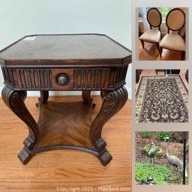 MaxSold Auction: This online auction features vintage furniture, faux flower arrangements, art glass, toys, exercise equipment, area rugs, sewing machine, dollhouse, wine Racks, board games, garden art, and much more!