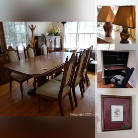 MaxSold Auction: This online auction features buffets and hutches, dining table and chair sets, desk, chairs, bookcases, couch, round table, nesting tables, swivel rocker, kitchen supplies, kitchenware, plastic storage, small kitchen appliances, range, refrigerators, treadmill art and much more!