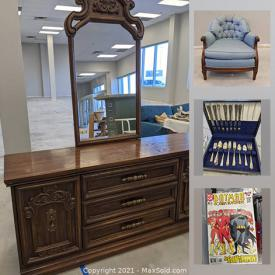 MaxSold Auction: This online auction features wood furniture, trunk, TVs, media unit, comics, antique tables, laptop, Wood bar cart, art deco Tallboy dresser, David Kaplan chalkware, vintage skis, wall sconces, antique radio and much more!