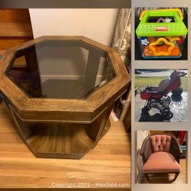 MaxSold Auction: This online auction features Baby Activity toys, Mahogony furniture outdoor furniture and much more.