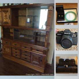 MaxSold Auction: This online auction features lamps, furniture, rugs, leather sofa, clothing, cellphones, cameras, 10k jewelry, Jade jewelry, air conditioners, Holiday decorations and much more.