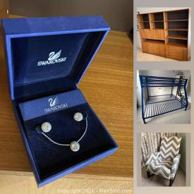 MaxSold Auction: This online auction features Bunk beds, Wall unit, Firepit, Jadeite, Mercury glass, Swarovski jewelry, and much more!