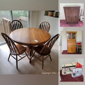 MaxSold Auction: This online auction features artwork, baking and cookware, office supplies and equipment, lamps, drop front secretary Hutch, homecare and cleaning, golf clubs, yard and garden care, car seat massager, barware, rugs, handbags, A/V equipment, dining set, TVs and much more!