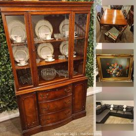 MaxSold Auction: This online auction features Cherry wood China Cabinet and dining room set, Vintage furniture, Sectional sofa, surround sound stereo, Microwave and more