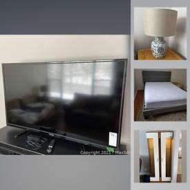 """MaxSold Auction: This online auction features Hamilton compact fridge, furniture such as leather couch, wood media stand, bed frames, and nightstands, 49"""" Toshiba TV, 40"""" Samsung TV, Dyson vacuum, DVDs, books, small kitchen appliances, linens, home decor, garden tools and much more!"""