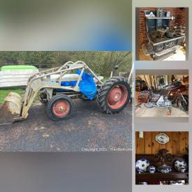 MaxSold Auction: This online auction features John Deere riding mower, VForce golf cart, Ferguson tractor, fine china, collectors plates, oil lanterns, furniture such as antique cabinet, tiger wood dresser, buffet, and roll-top desk, HP laptop, kitchenware, home decor, art glass, renovation material, books, glassware, dishware, small kitchen appliances, costume jewelry, wall art, sewing machines, children's toys, holiday decor, power tools and much more!