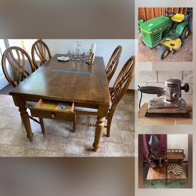 MaxSold Auction: This online auction features furniture such as vintage tables, MCM Bassett furniture, dresser with hutch, file cabinets, cedar chest, side tables, shelves, chairs, round table on metal base, wood crate, table and more, riding mower, garden tools, hand tools, wood lot, Dremel, watch repair kit, books, window AC, mirrors, kitchenware, glassware, figurines, dolls, vintage cameras, leather jacket, school supplies, jewelry, lamps and much more!