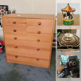 """MaxSold Auction: This online auction features Armstrong piano, Royal Albert, silver plate, wooden loom and collectible dolls, furniture such as table with chrome chairs, wood dressers, desks, and wood chairs, electronics such as VR headset, 46"""" Sharp TV, and stereo equipment, dishware, small kitchen appliances, glassware, wall art, office supplies, children's toys, photography equipment, lamps, sports equipment, DVDs, CDs, records, water cooler, men's and women's clothing, hand tools and much more!"""