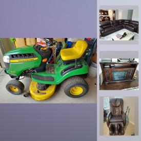 MaxSold Auction: This online auction features, home furnishings, recliners, massage chair, John Deere lawnmower folding tables, rugs, tires, mountain bikes and much more!