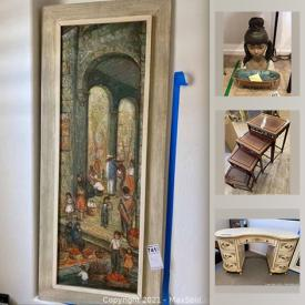 MaxSold Auction: This online auction features signed artwork, furniture, marble slabs, outdoor and sporting equipment, media, electronics, Apple charging tower, clothing, electronics, SONY, antique lamps, Lladro and more.