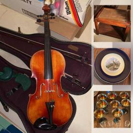 MaxSold Auction: This online auction features Decorative Plates, stereo components, exercise equipment, musical instruments, art supplies, toys, yard tools, fish tanks, area rugs, Mersman table and much more!
