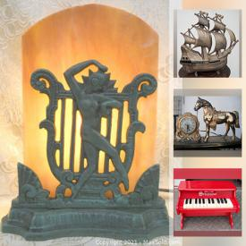 MaxSold Auction: This online auction features art deco lamps, original oil paintings, antique carved Wood, art glass, vintage brass statues, Pottery porcelain figurines and much more!