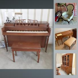MaxSold Auction: This online auction features board games, vintage toys, collectible plates, sterling silver goblets, office supplies, framed wall art, TV, Noritake dishes, upright piano, small kitchen appliances, tools and much more!