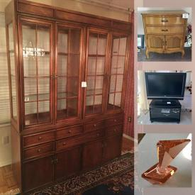 MaxSold Auction: This online auction features Baetz Brothers furniture, vintage furniture, Waterford crystal, Gwyneth Travers Woodcut art, TV, antique tables, Lamps, Royal Doulton figurines, Limoges, mid-century art glass, grandfather clock, desks, dressers, Blue Mountain pottery and much more!