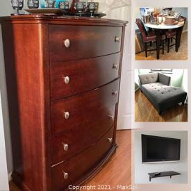 MaxSold Auction: This online auction features coffee tables, dining room table, sofas, fitness equipment, Broyhill bedroom furniture, electronics, Apple charging station, Bose stereo and much more.