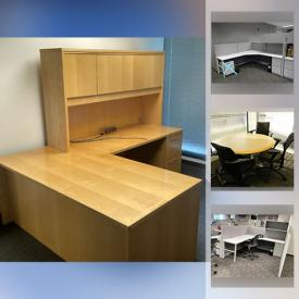 MaxSold Auction: This online auction features 17 cubical desk sections, 4 white rolling desks, 5 U-shaped desks, 2 L-shaped desks, and circle conference table.