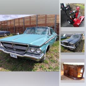 MaxSold Auction: This online auction features a 1963 Chrysler Saratoga, 1984 Lincoln, snowblower, Henredon furniture including Buffet, Chairs, tables. Drexel heritage bedroom furniture, iPad laptops and Minis, Infants clothing, Kids toys and Games, Eastlake chairs, Ladies coats, Office furniture, Linens and much more!