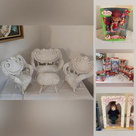 MaxSold Auction: This online auction features vintage dolls such as Chatty Cathy, Betsy Wetsey, Barbie, NIB Ginny, strawberry shortcake, American girl, NIB Justin Bieber, Bitty Baby and doll clothes, accessories, & furniture, NIB banks, Christmas village, NIP Mcdonald's Toys and much more!