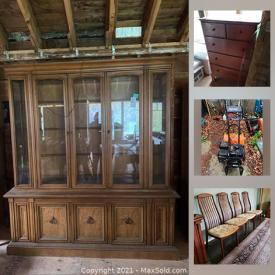 MaxSold Auction: This online auction features GE refrigerator, Amana freezer, furniture such as game table, lighted armoire, swivel chair with ottoman, teak chairs, and antique cabinet, area rugs, shelving, wall art, garden decor and much more!