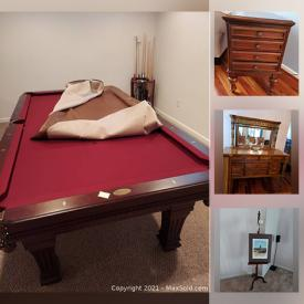 MaxSold Auction: This online auction features Bedroom Furniture, Pub Table, Pool Table, Office Furniture, Plants, Lamps, Easel, Recumbent Bicycle, Training Heavy Bag, Weight Training Machine and much more.