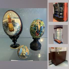 MaxSold Auction: This online auction features retail store display cabinets with lighting and glass shelves. Jade pendants, Swarovski keychains, hand-painted eggs and much more!