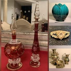 MaxSold Auction: This online auction features Blue Mountain Pottery, Men's Shoes, Area Rug, Brass Samovar. 925 Sterling Silver Jewelry, Depression Glass, Steins, Vintage Jewelry, Bell Collection, Brass Floor Lamp, Antique Brass Wall Art, Toys, Men's Women's & Boys Clothing and much more!