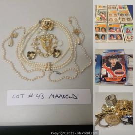 MaxSold Auction: This online auction features a treasure hunt of Pro Sports Trading Cards in large mixed lots, boxed, sleeved, in binders and Costume Jewelry bundles