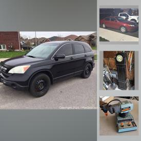 MaxSold Auction: This online auction features a Honda CRV, KIA Magentis, Wooden Trains sets, Stoneware spirit Jugs, Dairy bottles, Pocket watches, Antique bottled, jars and crocks, Mason jars. Royalty Ephemera, Fishing gear and tackle, Wade figures, Artisan Pottery, Clocks Pokemon, Sports and Super Hero trading cards, Wedgwood, Fire King, Cola collectibles, Skis, Art Glass, Diecast Vehicles, Nascar memorabilia, Coins and much more!
