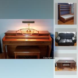 MaxSold Auction: This online auction features Leather love seats, silverplate tea set, exercise weights, garden tools, upright piano, African instruments, Furton, office desks and much more!