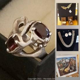 MaxSold Auction: This online auction features a vintage sideboard, paintings, stained glass lampshade, jewelry, plant stand, Durwood mirror, vintage clothing and shoes, bags, Birks fondue set, vintage Swarovski and much more!