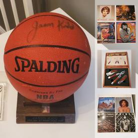 MaxSold Auction: This online auction features Katana, decorative cutless, paintball, fishing cutless, Jason Kidd signed basketball, vinyl records, train set, pottery, comics, sports cards, Fenton glass, Bunnykins and much more!
