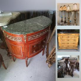 MaxSold Auction: This online auction features Luxurious Commercial & Residential Fine Art, Exquisite decor & Furnishings such as oversized paintings, frames, designer carved panels, gold mirror, oversized mirror, Burlwood dresser, ornate carved console, Bergere chair, Bombay chest, captains chair, lamps, console, Asian decor, large rattan table and much more!