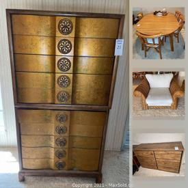 MaxSold Auction: This online auction features Cane sofa, modular wall system, media electronics, refrigerator, costume jewelry, 1960s furniture, small kitchen appliances and much more!