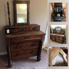 MaxSold Auction: This online auction features vintage and antique furniture, kitchenware, small appliances, Denver mint coins, Wedgwood, stoneware, ceramics, crystal, bicycles, tool chest, hand tools, NIKON, cameras and much more.